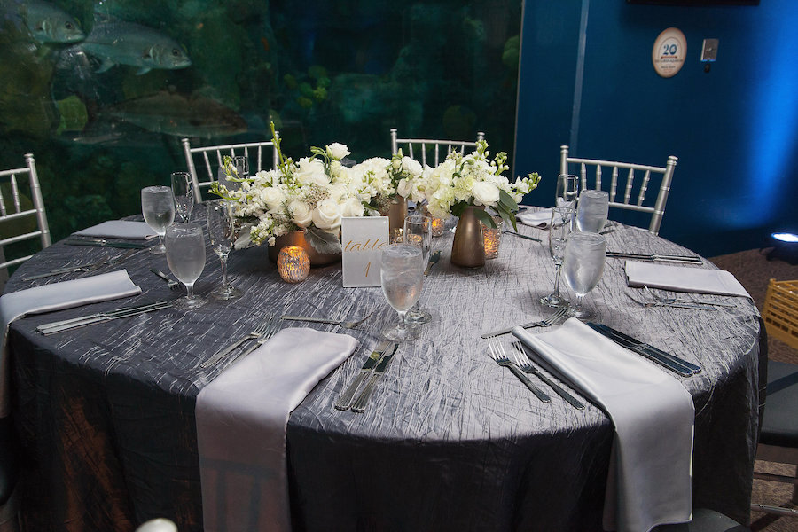 Grey Silver Wedding Table Linens With Grey Silk Napkins And