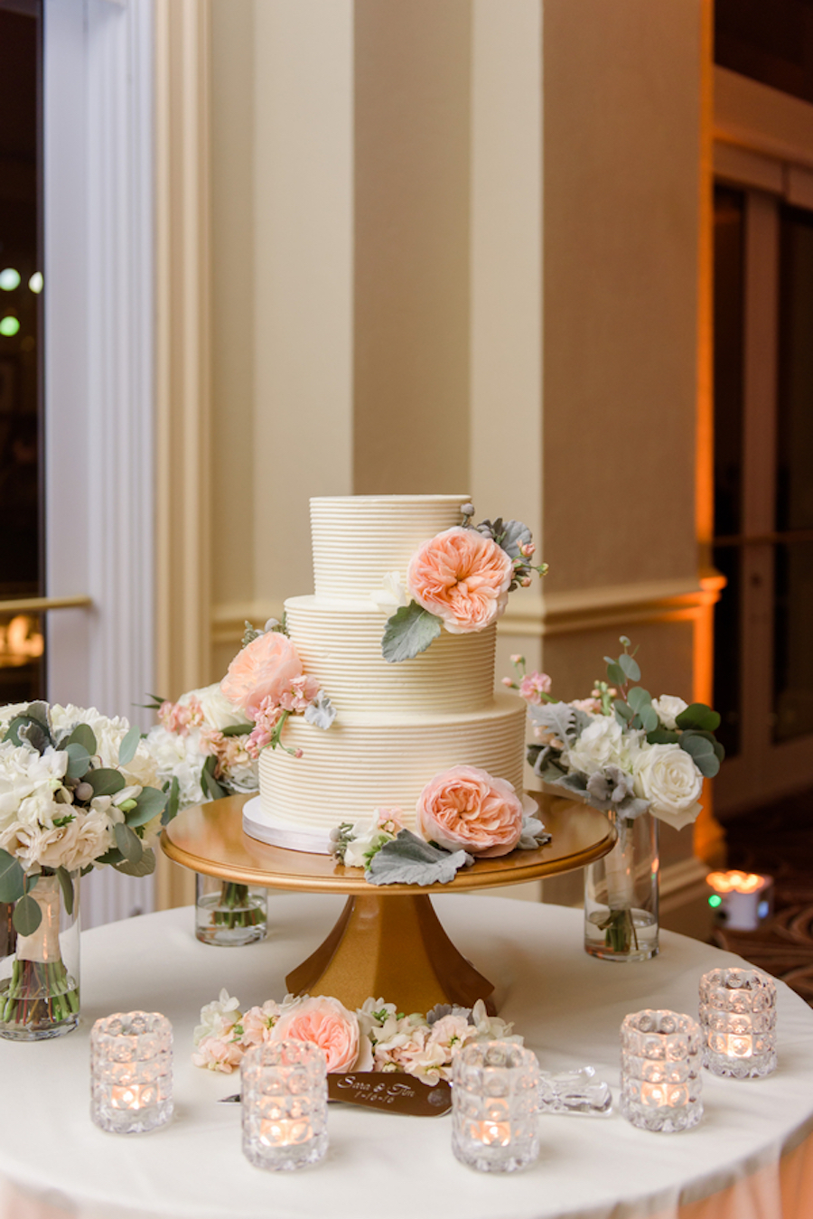 Three Tiered, White Wedding Cake with Blush, Coral Peony Flower Accents with Succulent Greenery