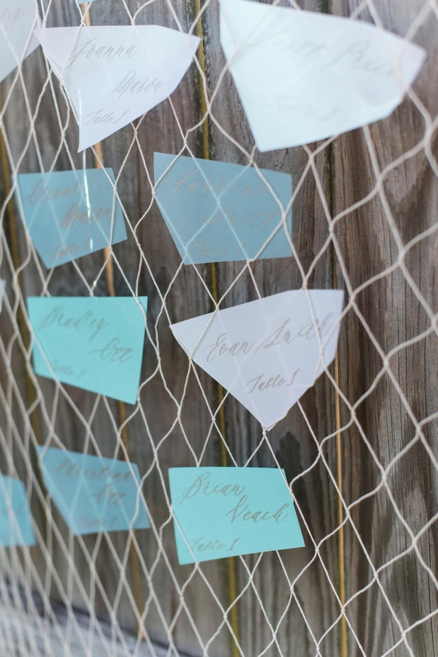 Coastal, Sea-Glass Inspired Beach Wedding Seating Chart with Fishing Net| Wedding Seating Chart Alternatives | Tampa Bay Wedding Photographer, Caroline & Evan Photography
