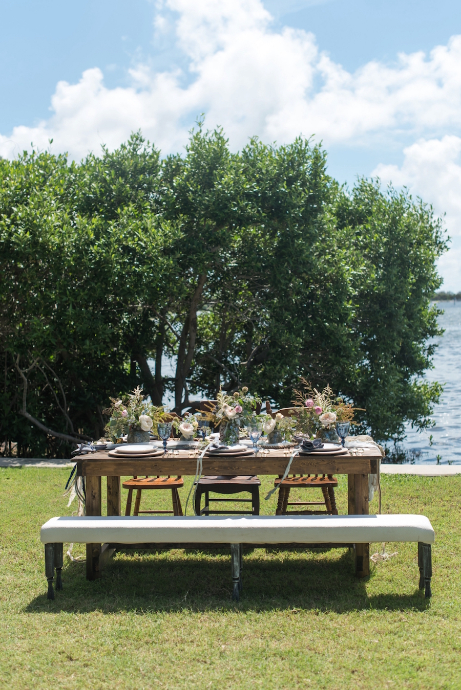 Outdoor Wedding Furniture Wooden Benches and Table| St. Pete Beach Wedding Photographer, Caroline & Evan Photography