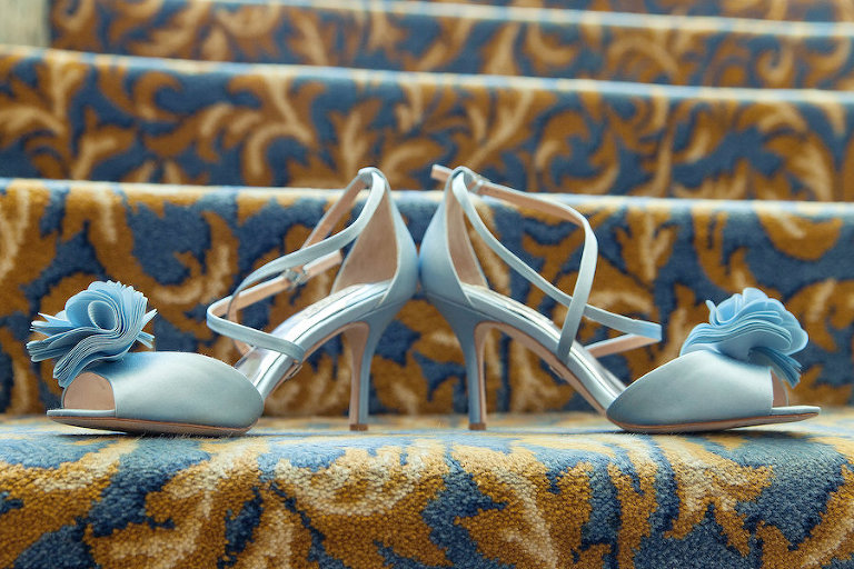 Bride's Wedding Day Something Blue | Blue Strappy Bridal Shoes with Bows | Photo by Tampa Bay Wedding Photographer Kristen Marie Photography