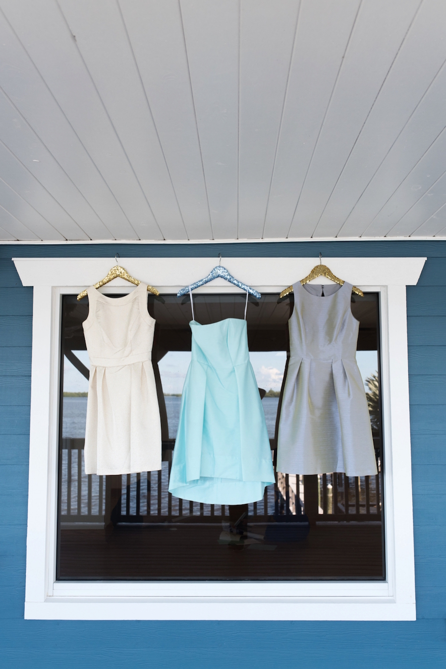 Cocktail Length Bridesmaid Wedding Dresses by Dessy | Ivory, Light Blue and Gray Bridesmaid Dresses| Tampa Bay Wedding Photographer, Caroline & Evan Photography