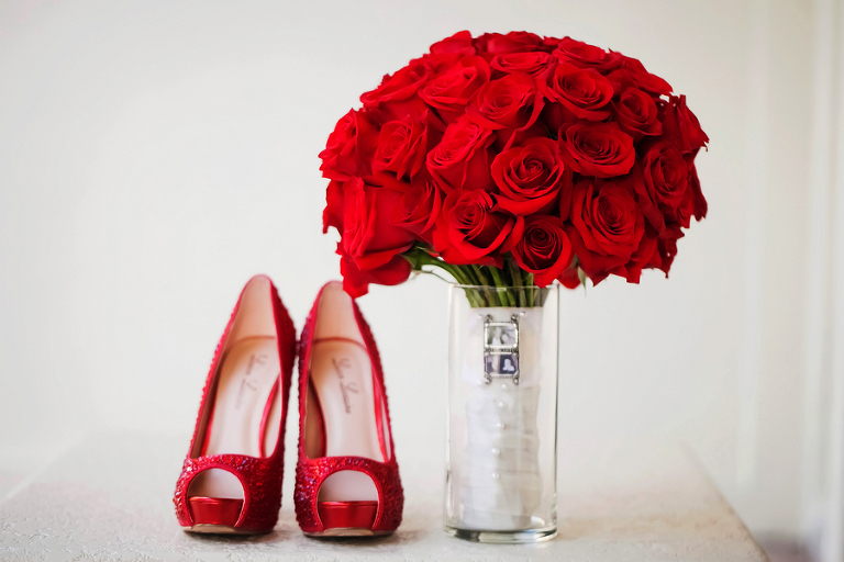 Red Rose Wedding Bouquet with Memorial Locket | Ruby Red Wedding Heels | Photo by Tampa Bay Wedding Photographer Limelight Photography