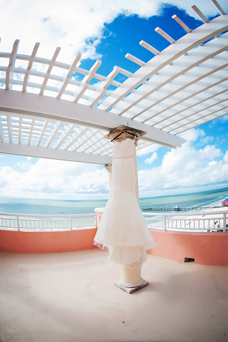 Strapless, Ivory Wedding Dress on Terrace of Hyatt Regency Clearwater Beach | Clearwater Beach Wedding Photographer Limelight Photography