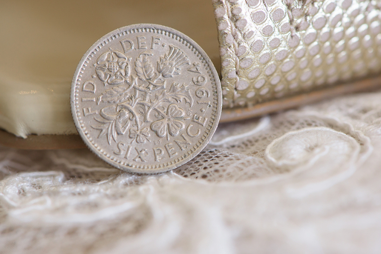 Getting Ready Wedding Details: Six Pence Coin