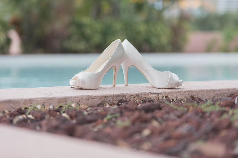 White Ivory, High Heeled Peep Toe Wedding Shoes