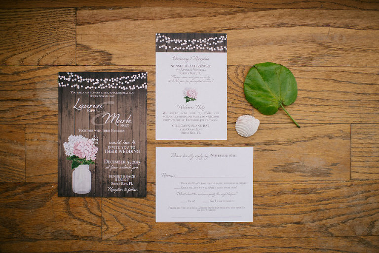 Rustic, Floral Wedding Invitation Suite with Market Lights and Mason Jars