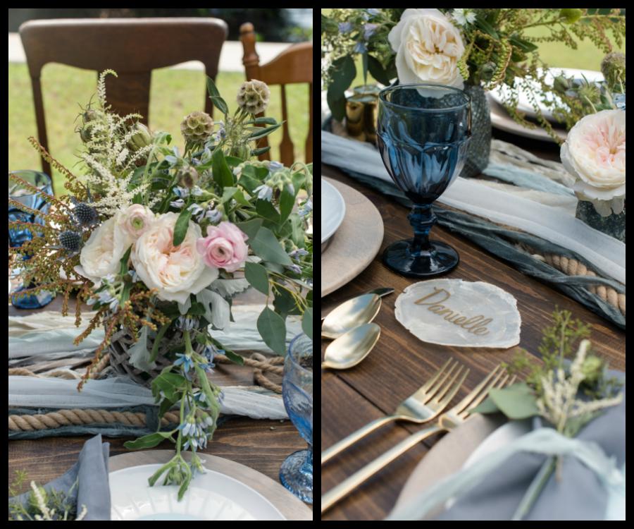 Coastal Chic Wedding Table Setting with Romantic Florals |Wedding Vintage Drinking Glass Rentals | Tampa Bay Wedding Photographer, Caroline & Evan Photography