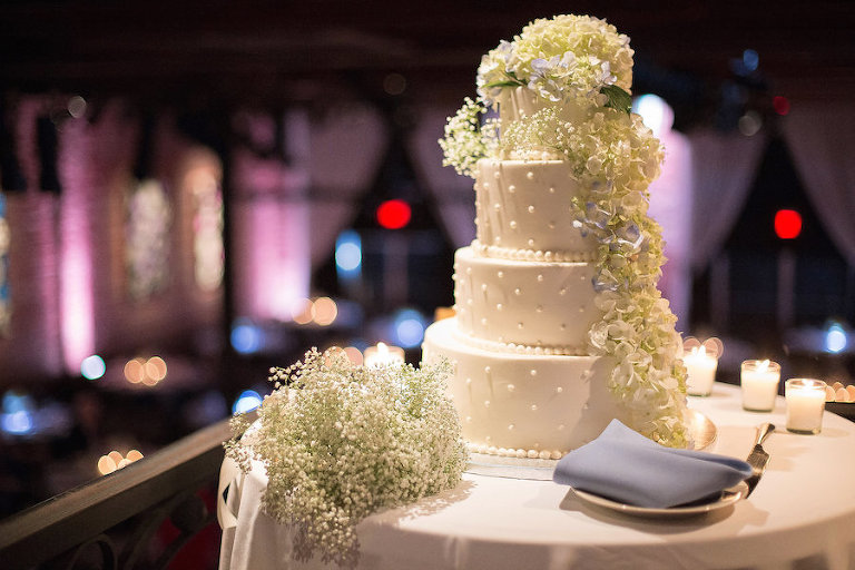 Four Tier White Wedding Cake by Corey's Bakery with Hydrangea Floral Detail | Photo by Tampa Bay Wedding Photographer Kristen Marie Photography