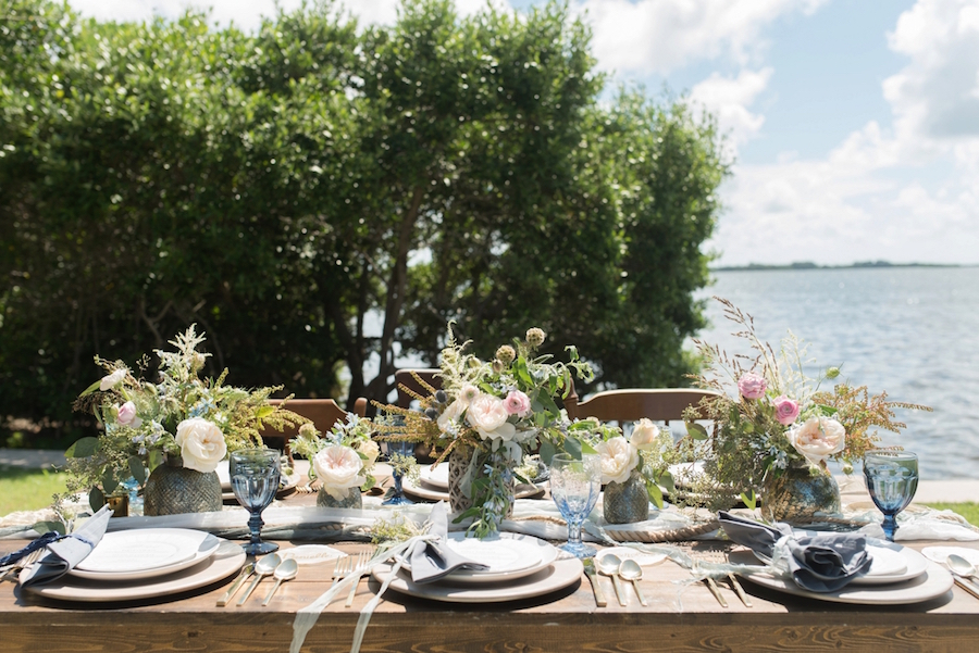 Coastal Inspired Wedding Place Setting Design with Pink and Greenery Centerpieces and Nautical Accents | Tampa Bay Wedding Photographer, Caroline & Evan Photography