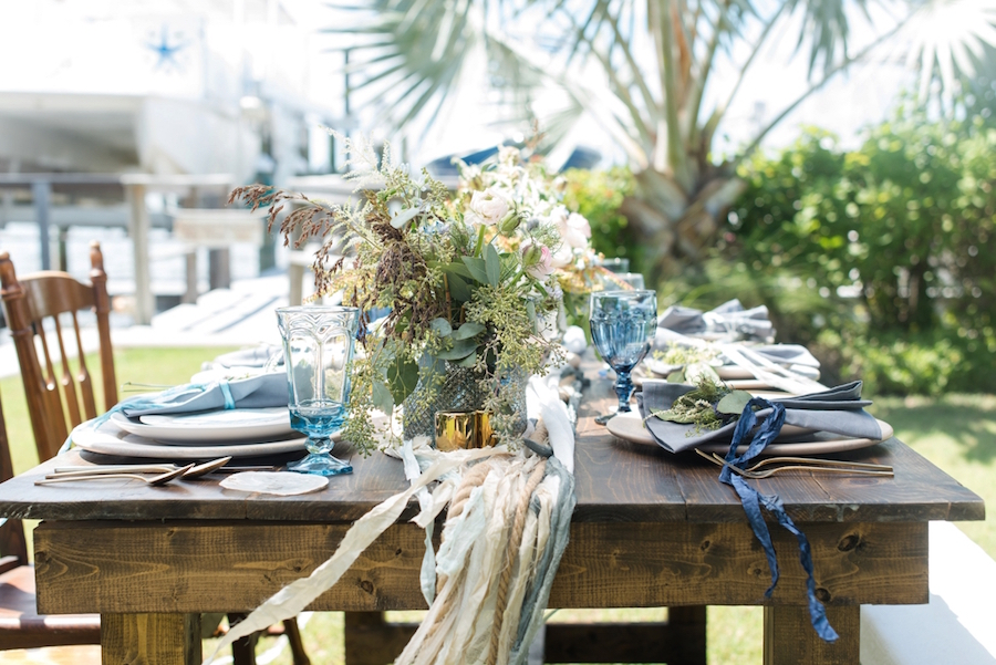 Coastal Inspired Wedding Place Setting Design with Floral Accent on Farm Table | Tampa Bay Wedding Photographer, Caroline & Evan Photography