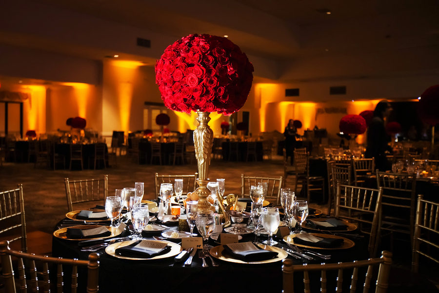 Black Gold Red Wedding Reception At Tampa Bay Wedding Venue