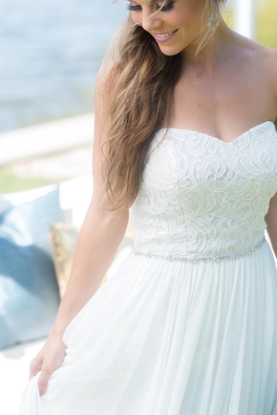 Bridal Beach Wedding Portrait in Strapless Chiffon Dessy Wedding Dress| St. Pete Wedding Photographer, Caroline & Evan Photography