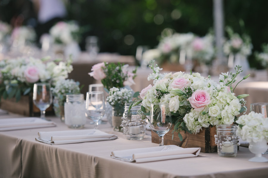 Rustic and Elegant Pink Rose and White Hydragena Wedding Table Centerpieces in Wooden Boxes by Sarasota Wedding Florist Florist Fire