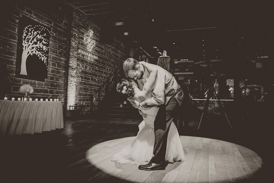 Bride and Groom First Wedding Dance at St. Pete Wedding Venue NOVA 535 | Photo by Tampa Bay Wedding Photographer Kristen Marie Photography