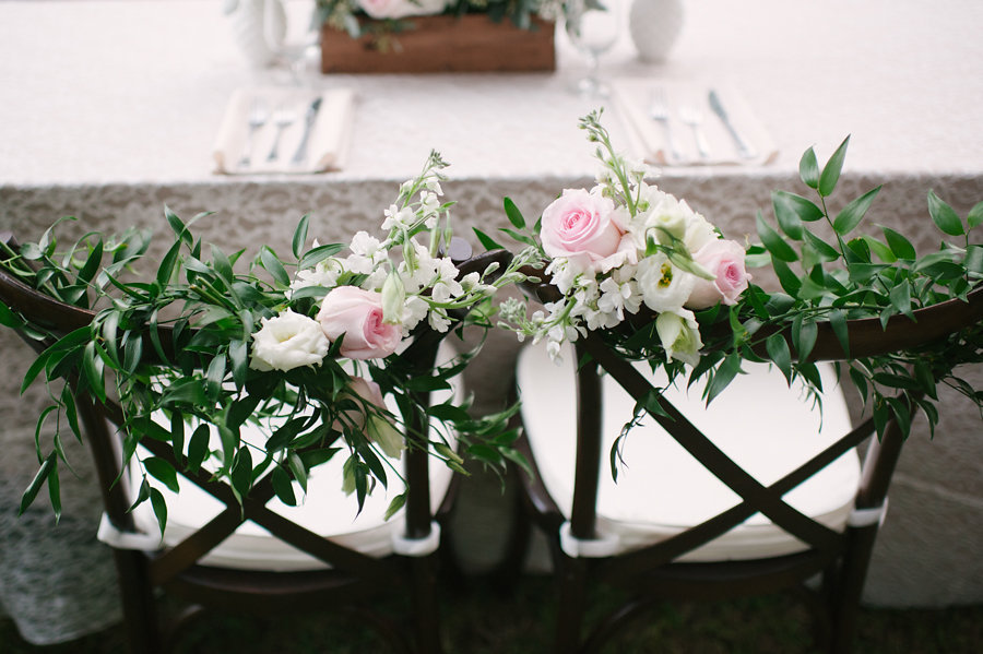 Pink and White Wedding Flowers with Greener  Sweetheart Table Wedding Floral Chair Decor  Rustic and Elegant Wedding Florals by Sarasota Florist Florist Fire