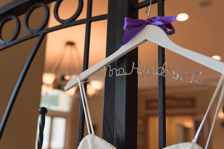 Bridal Wedding Gown with Custom Mrs. Wedding Dress Hanger | Photo by Tampa Bay Wedding Photographer Kristen Marie Photography