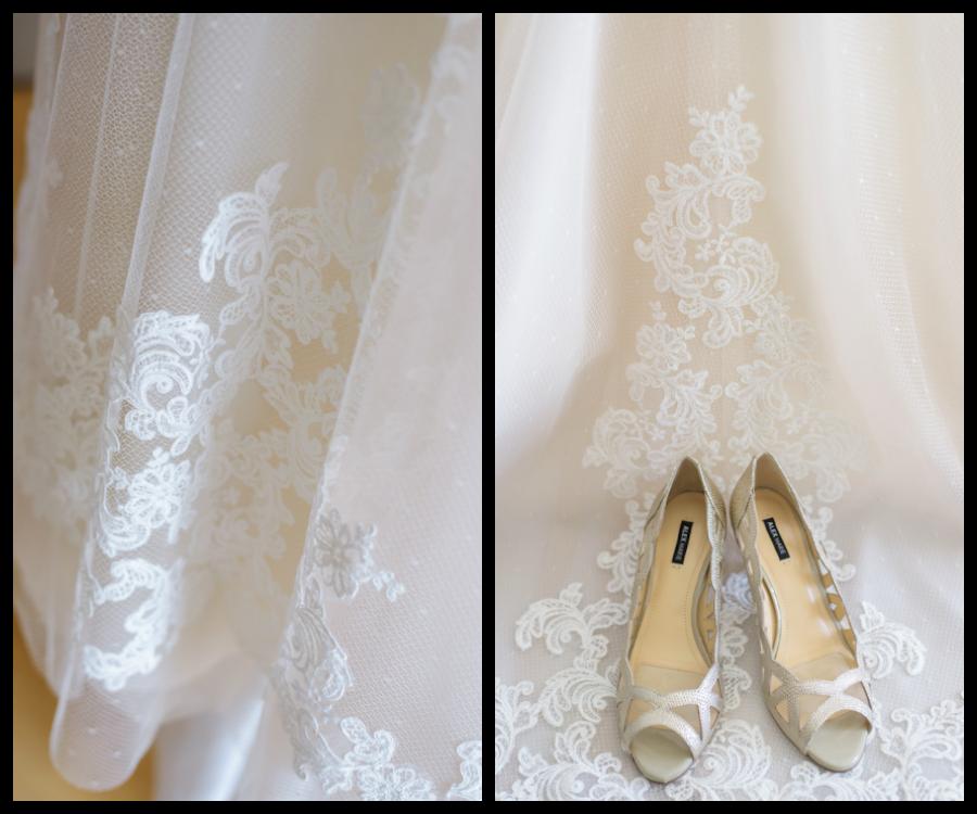 White, Lace WTOO Wedding Dress with White Bridal Wedding Shoes
