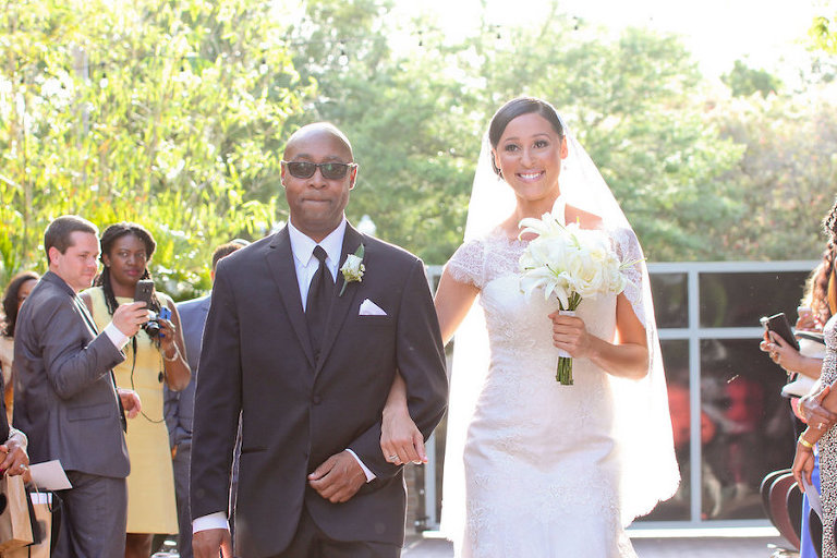 Bride and Dad Walking Down the Aisle at St. Petersburg Wedding Ceremony at NOVA 535