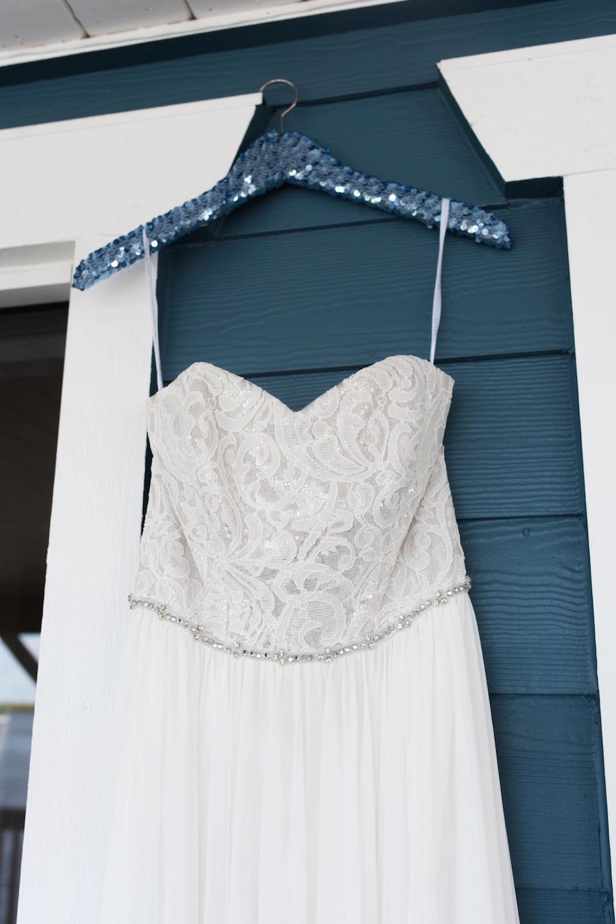 Strapless Lace Bodice with Swarvoski Detail Chiffon Wedding Dress by Dessy | Tampa Bay Wedding Photographer, Caroline & Evan Photography