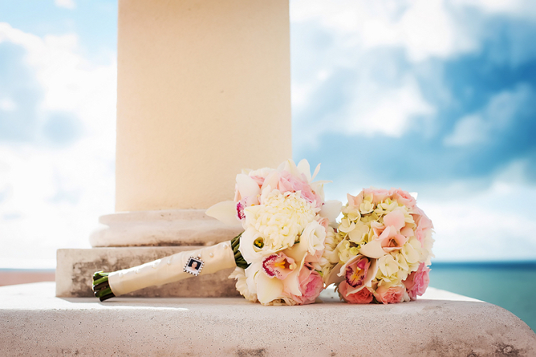 Pink and Ivory Floral Wedding Bouquet with Ivory Silk Wrapped Stems and Grandmother's Portrait Charm | Clearwater Beach Wedding Photographer Limelight Photography