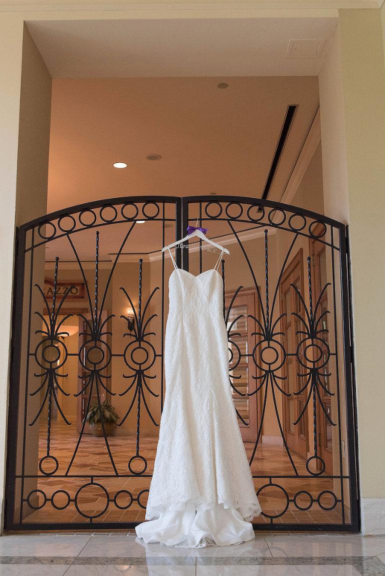 Kleinfeld Bridal Wedding Gown Portrait | Wedding Dress with Custom Mrs. Dress Hanger | Photo by Tampa Bay Wedding Photographer Kristen Marie Photography