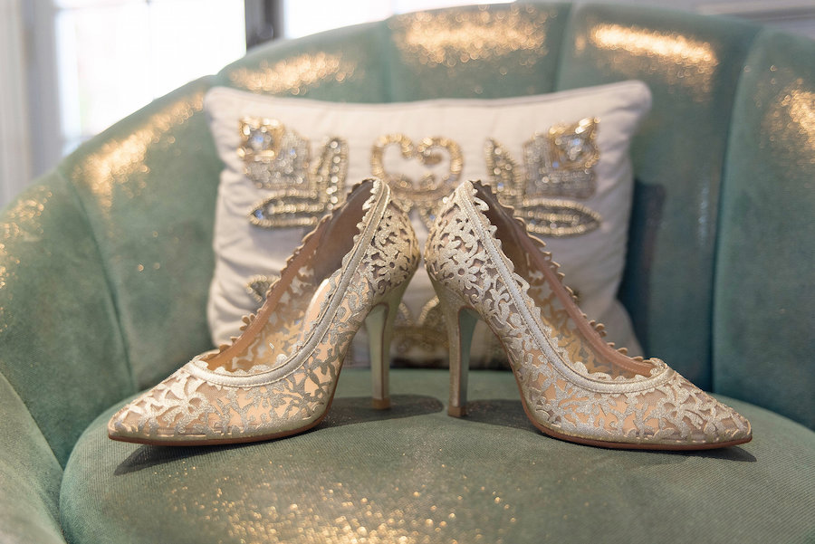 Wedding Day Shoes for the Bride| Champagne Gold Color Embroidered Closed-Toe Heels| Photo by Tampa Bay Wedding Photographer Kristen Marie Photography