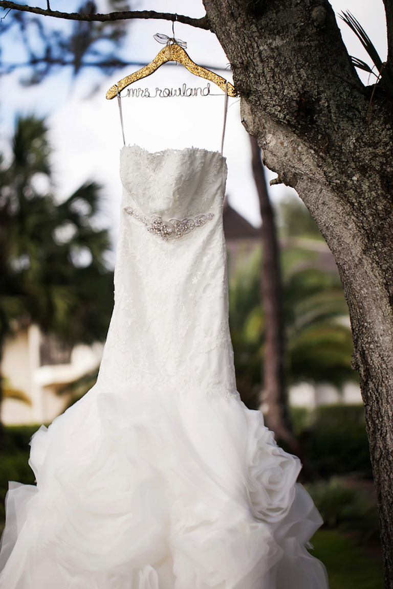 Strapless Wedding Dress on Custom Mrs Monogrammed Hanger| Photo by Tampa Bay Wedding Photographer Limelight Photography