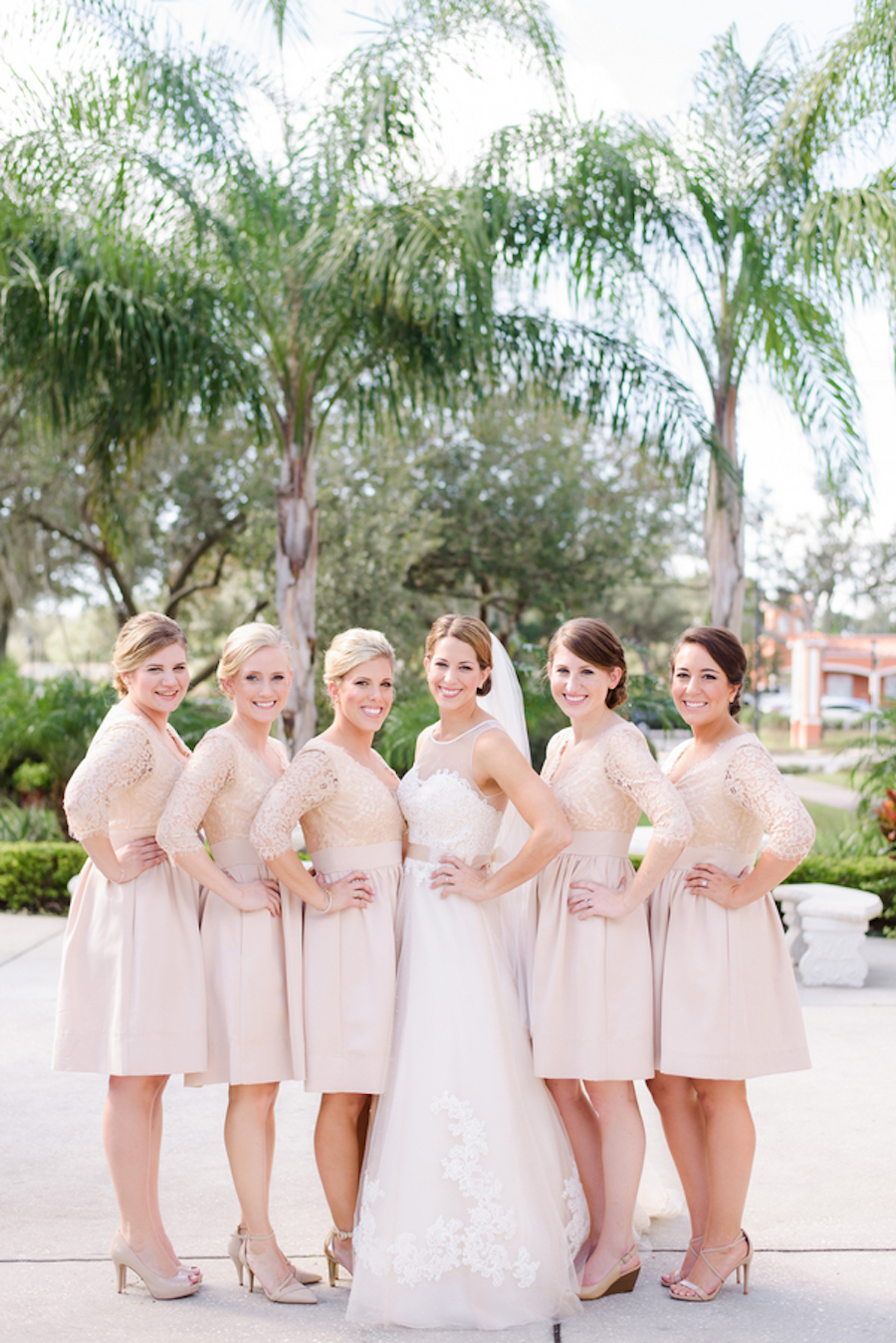 Bride and Bridesmaids Outdoor Bridal Portrait with Champagne Blush Dresses