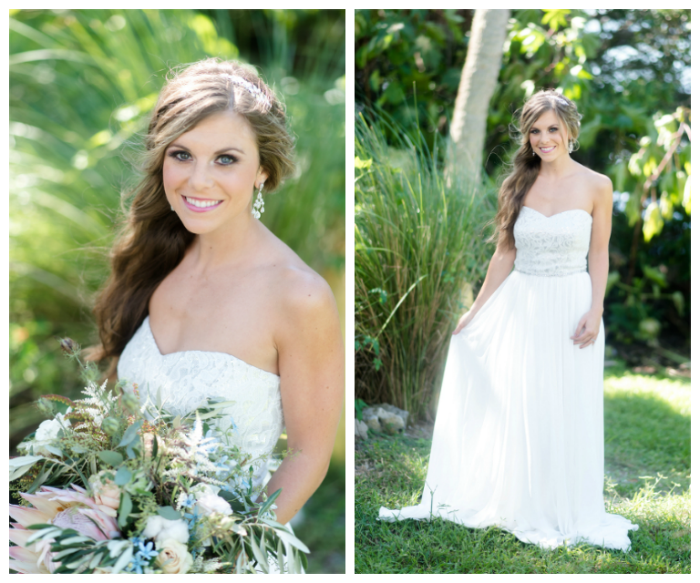 Bridal Wedding Day Portrait in Strapless Chiffon Gown by Dessy| Lush Greenery Wedding Bouquet with Proteas| St. Pete Wedding Photographer \ Caroline & Evan Photography| Tampa Bay Wedding Hair & Makeup By Lasting Luxe Hair & Makeup