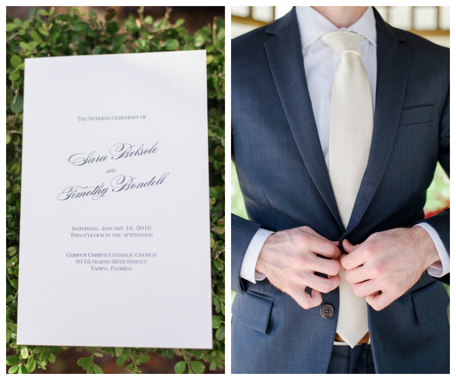 Tampa Wedding Ceremony Programs and Groom's Suit Detail