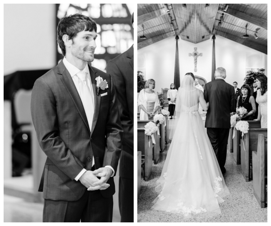 Bride and Dad Walking Down the Wedding Ceremony Aisle, Groom Seeing Bride Walk Down Aisle | Tampa Church Wedding Ceremony