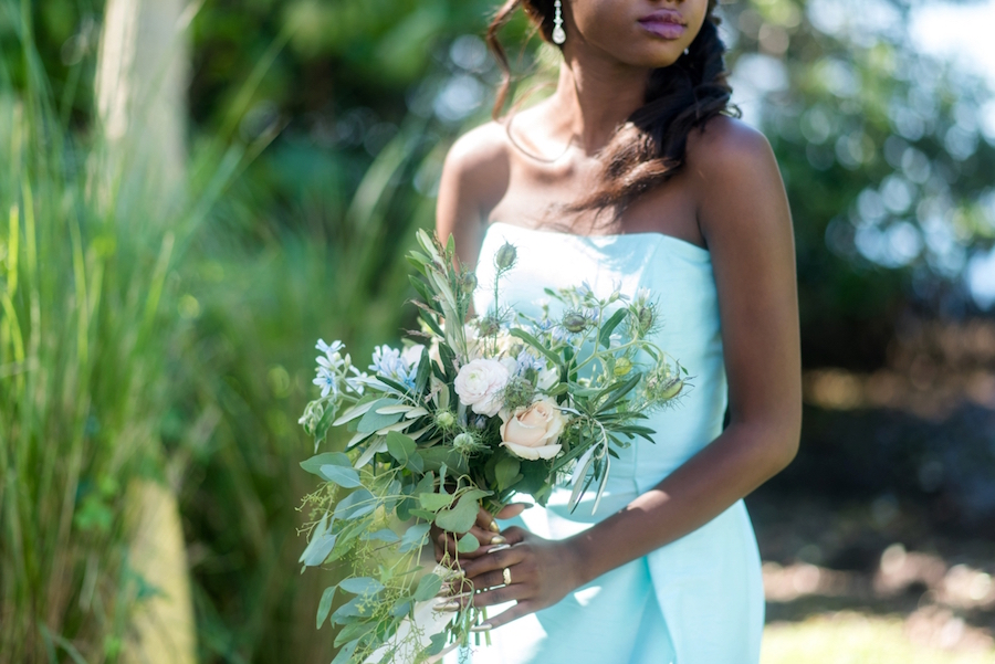 Coastal Light Blue Strapless Bridesmaid Wedding Dress by Dessy | Bridesmaid Bouquet with Greenery and Roses| Tampa Bay Wedding Photographer, Caroline & Evan Photography