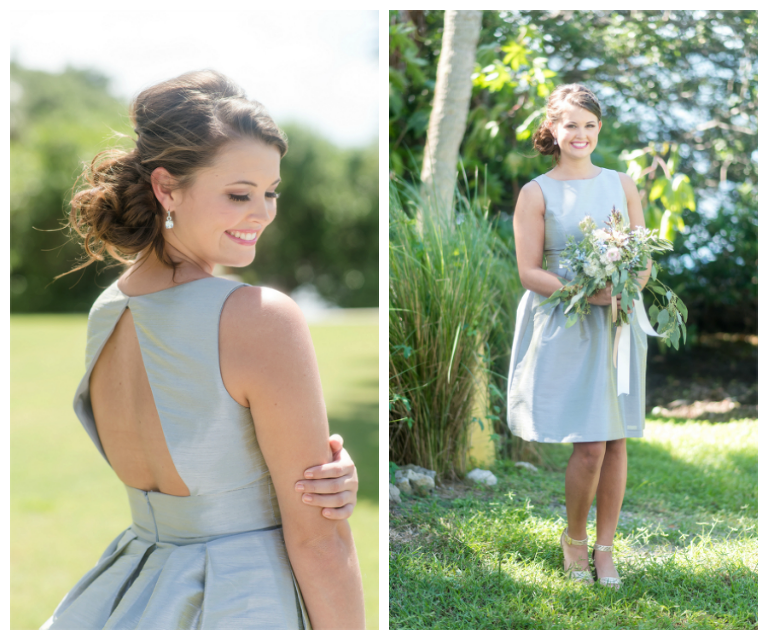 Grey Key-Hole Open Back Bridesmaid Wedding Dress by Dessy | Tampa Bay Wedding Photographer, Caroline & Evan Photography| Tampa Bay Wedding Hair & Makeup By Lasting Luxe Hair & Makeup