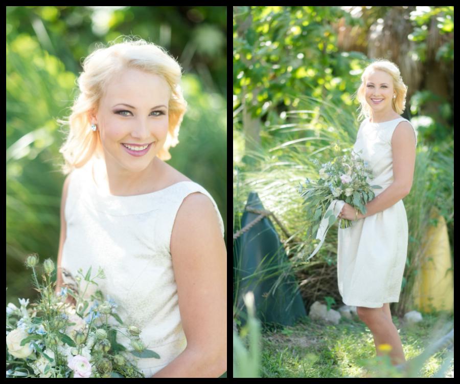 Ivory Bridesmaid Wedding Dress | Knee-Length Ivory Wedding Dress by Dessy | Tampa Bay Wedding Photographer, Caroline & Evan Photography| Tampa Bay Wedding Hair & Makeup By Lasting Luxe Hair & Makeup