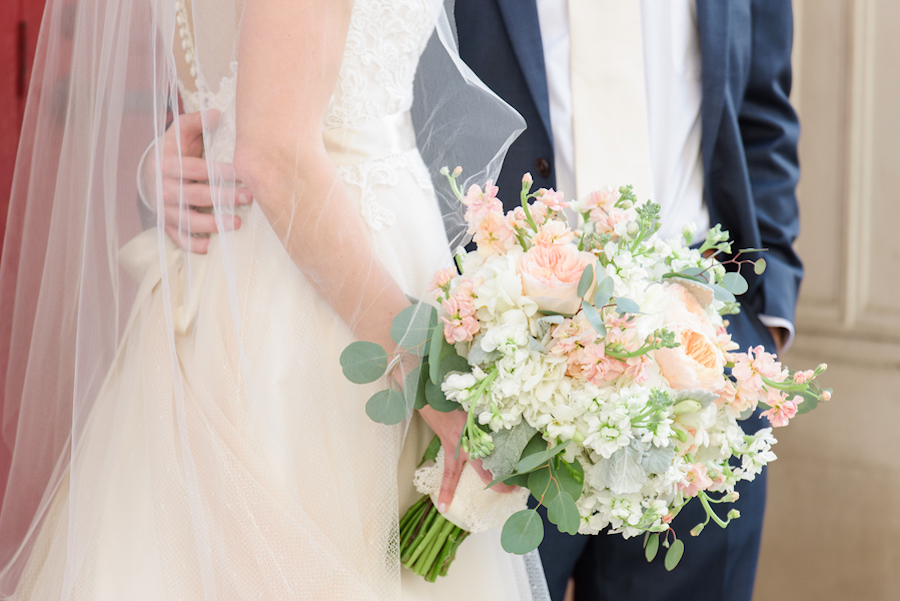Tampa Bride and Groom Wedding Portrait with Ivory and Blush, Coral Floral Bouquet