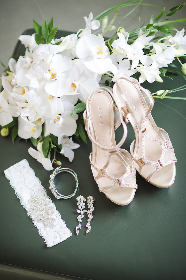 Getting Ready: Bride's Garter, Metallic Strappy Wedding Shoes, Jewelry with White Wedding Bouquet | Tampa Wedding Photographer Marc Edwards Photographs