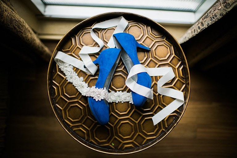 Getting Ready Details: Blue, Heeled Wedding Shoes and Crystal, Rhinestone Wedding Sash