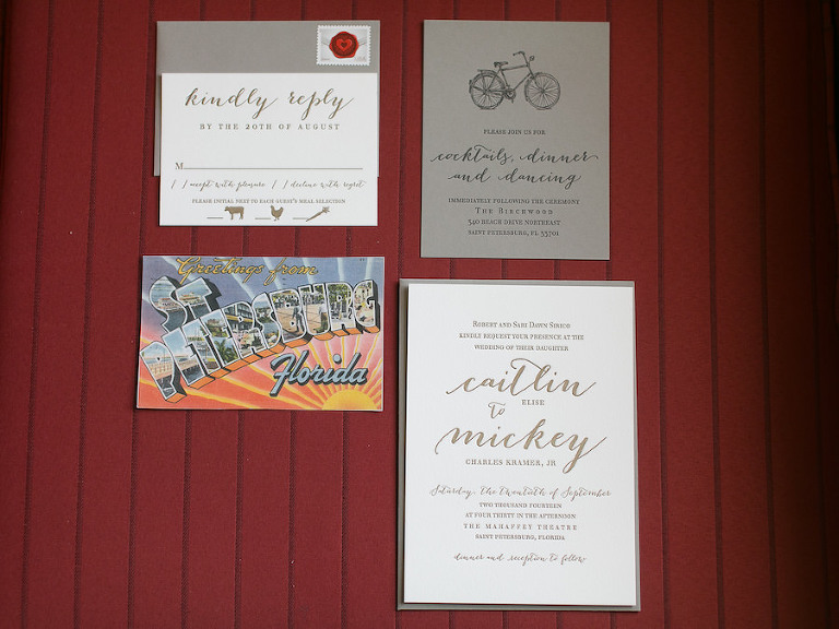 Custom Tan/Taupe and White/Ivory/Cream Handmade Letterpress Wedding Suite Invitations with Unique Meal Choice Icons, Bicycle Symbol and Calligraphy| St. Pete Custom Letterpress Wedding Invitations | St. Pete Wedding Invitation Company A&P Design Co | Saint Petersburg Wedding Photographer Roohi Photography