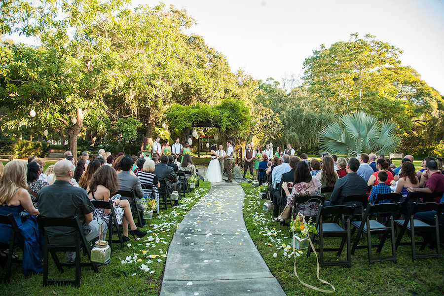 St. Petersburg, Outdoor Lord of the Rings Inspired Wedding Ceremony Under Altar of Greenery | St Petersburg Wedding Venue Garden Club of St. Petersburg