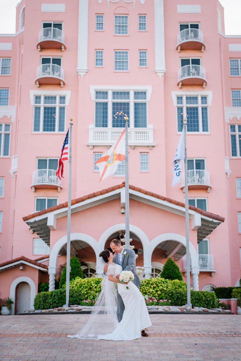 Bride and Groom, Outdoor St. Pete Beach Wedding Portrait at the Loews Don CeSar