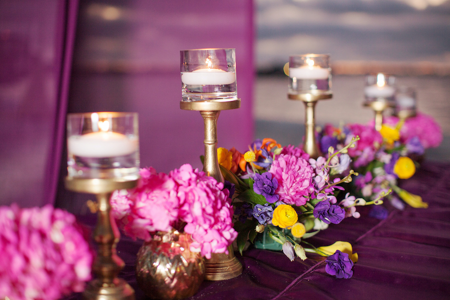 St. Petersburg Indian Wedding Ceremony Canopy Decor with Purple and Pink Flower Centerpieces   St. Petersburg Wedding Florist Iza's Flowers