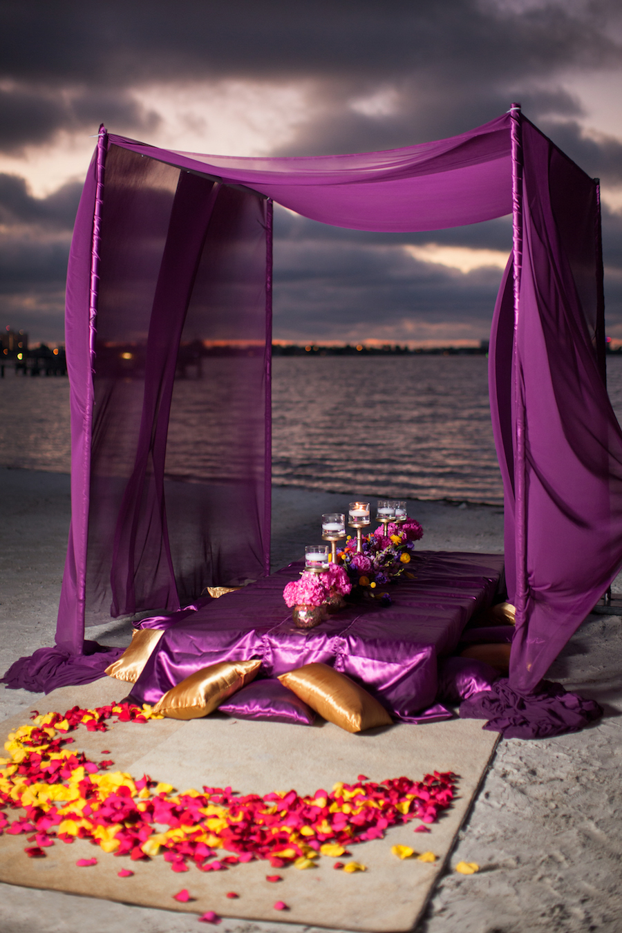 Asian Fusion St Petersburg Wedding with Purple and Yellow Ceremony Flower Rose Petals and Purple Canopy Tent   St. Petersburg Wedding Florist Iza's Flowers