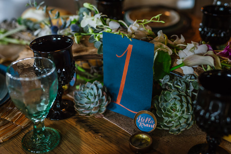 Ybor City Wedding Reception Table Decor with Black Glassware, Compass, and Succulents | Coppertail Brewing Co