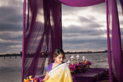 Asian Fusion Bride | St Petersburg Wedding with Purple and Yellow Ceremony Flower Rose Petals and Purple Canopy Tent | St. Petersburg Wedding Florist Iza