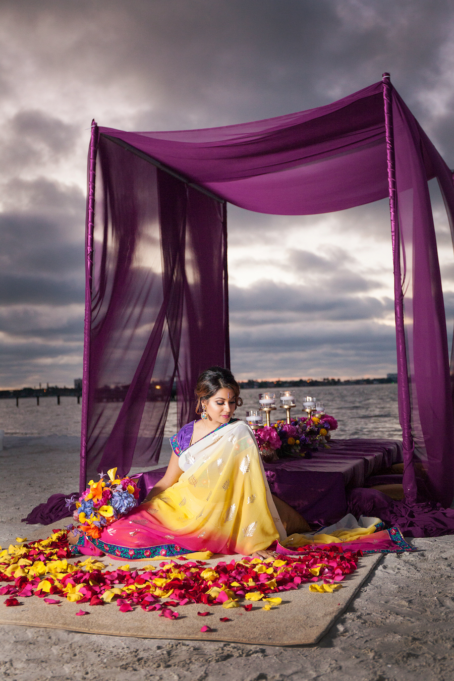 Asian Fusion Bride | St Petersburg Wedding with Purple and Yellow Ceremony Flower Rose Petals and Purple Canopy Tent | St. Petersburg Wedding Florist Iza's Flowers