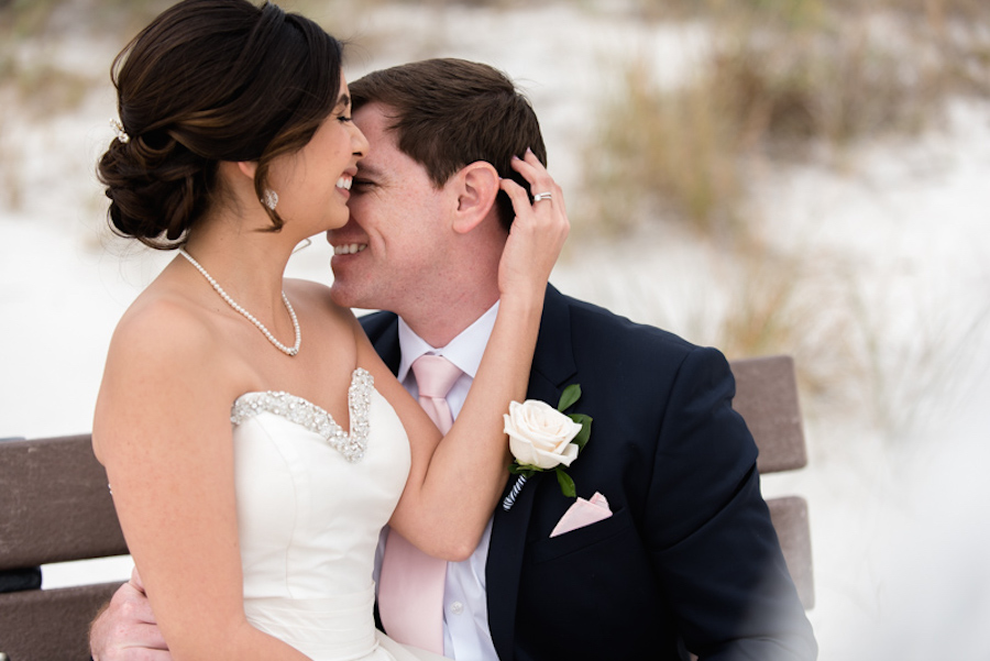 Bride & Groom Wedding Day Portrait and Embrace by Tampa Bay Photographer Caroline & Evan Photography