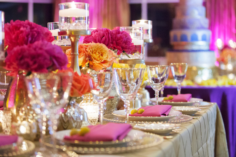 St Petersburg Indian Wedding Reception Table Decor With Pink And