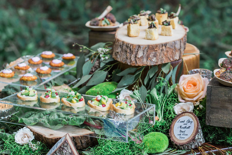 Wedding Appetizers on Rustic Decor Servers| Tampa Bay Wedding & Event Caterer Olympia Catering & Events