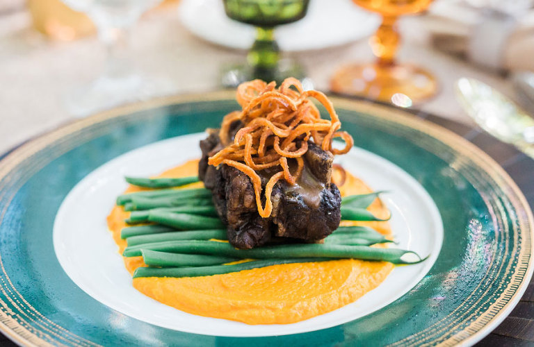 Wedding Dinner Short Ribs and Vegetables| Tampa Bay Wedding & Event Caterer Olympia Catering & Events
